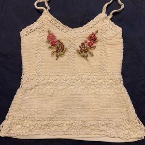 🎂 Light beige crochet tank top knit